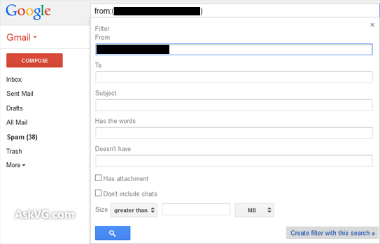 Create Gmail Filter for Email ID