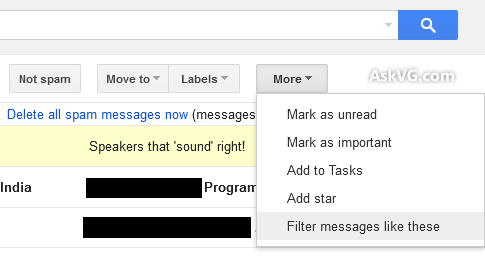 Filter Gmail Selected Message